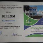 1. miesto v okresnom kole olympiády v anglickom jazyku